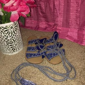 Navy Blue Embroidered Sandals